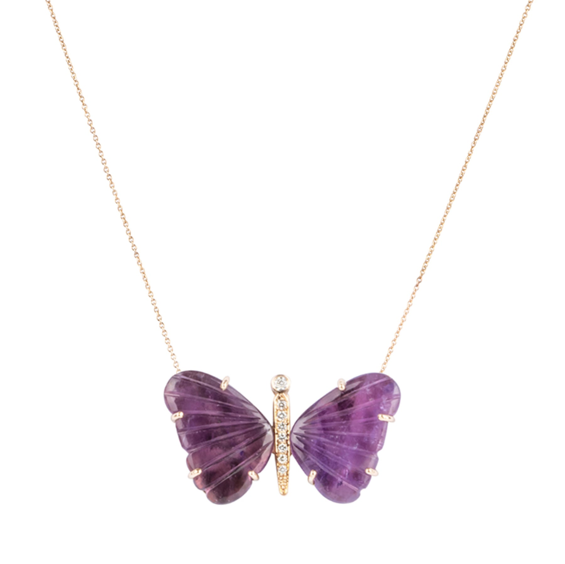 Large Amethyst Butterfly Necklace