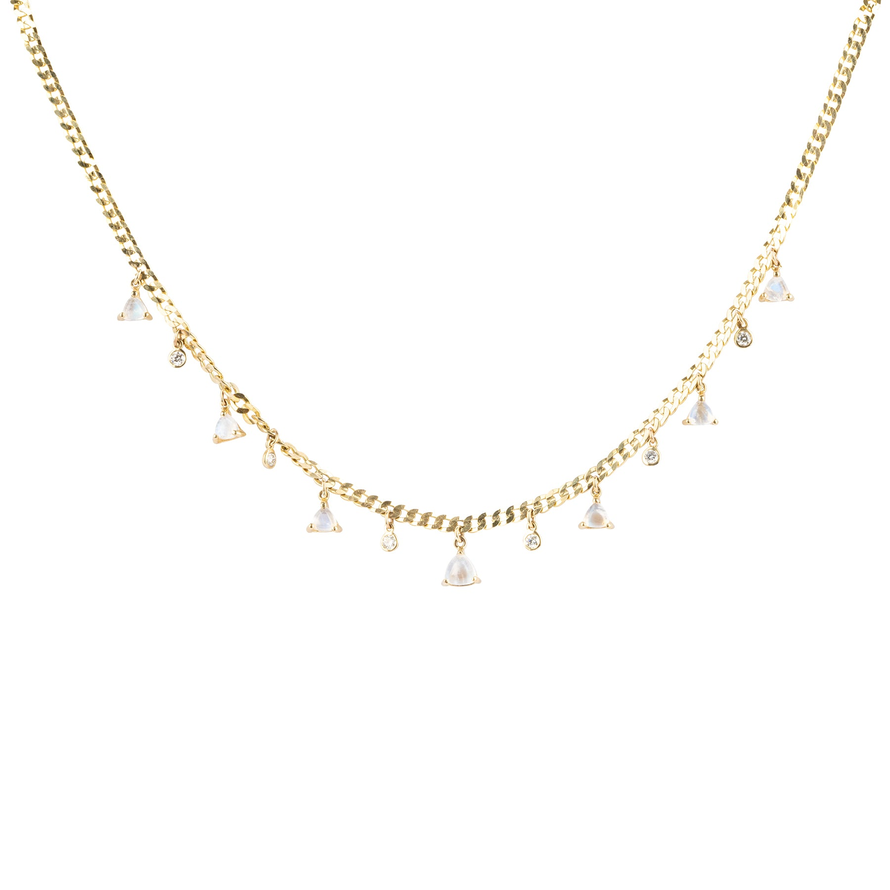 Thick Chain Moonstone Diamond Shaker Necklace
