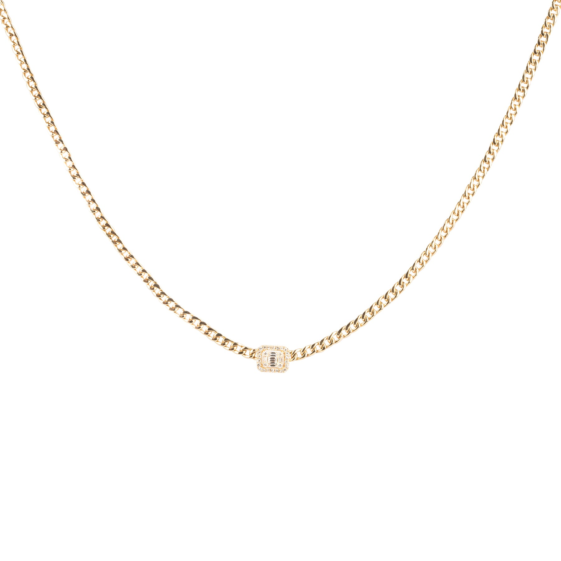 Baguette Diamond Halo Curb Chain Necklace