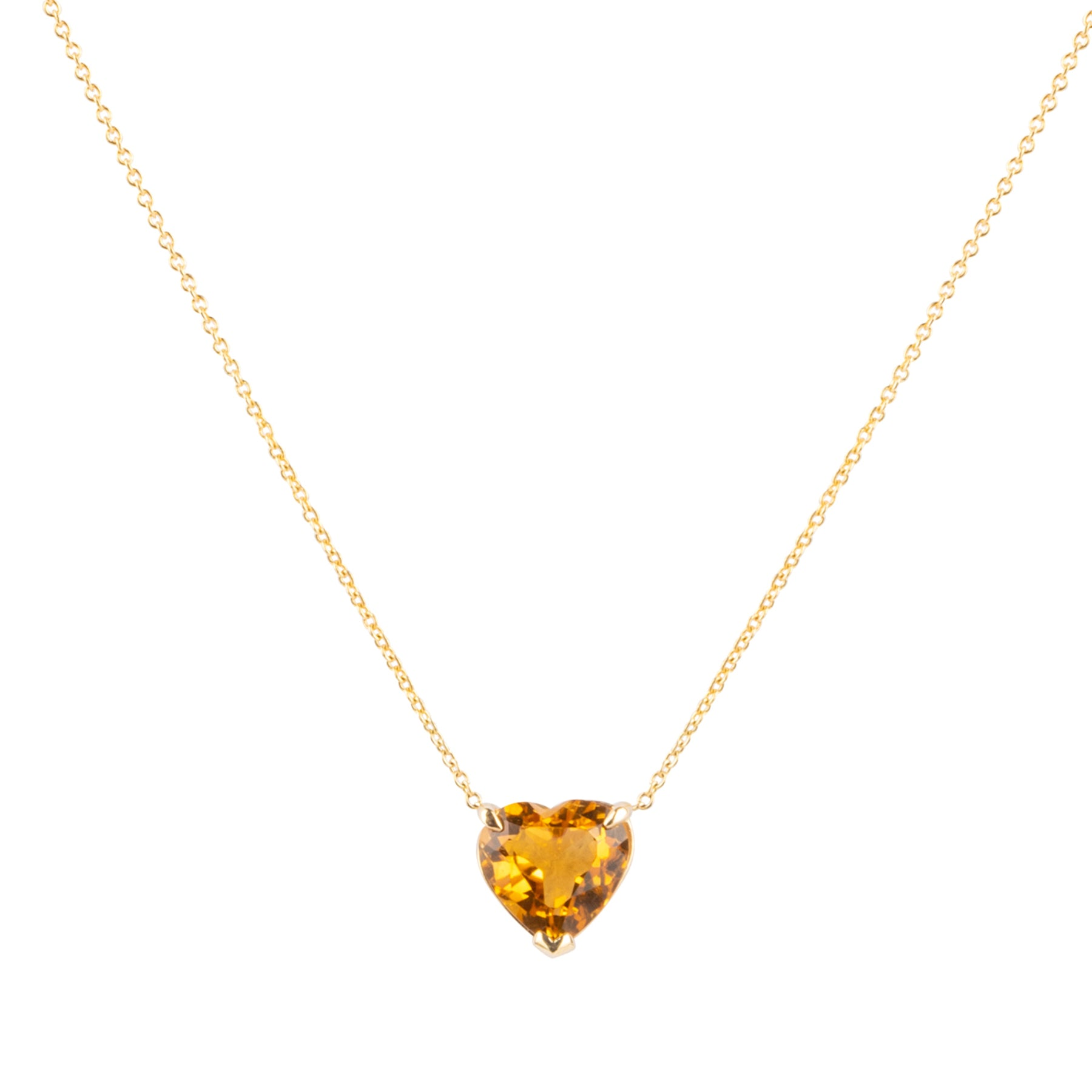 Citrine Heart Gem Candy Necklace