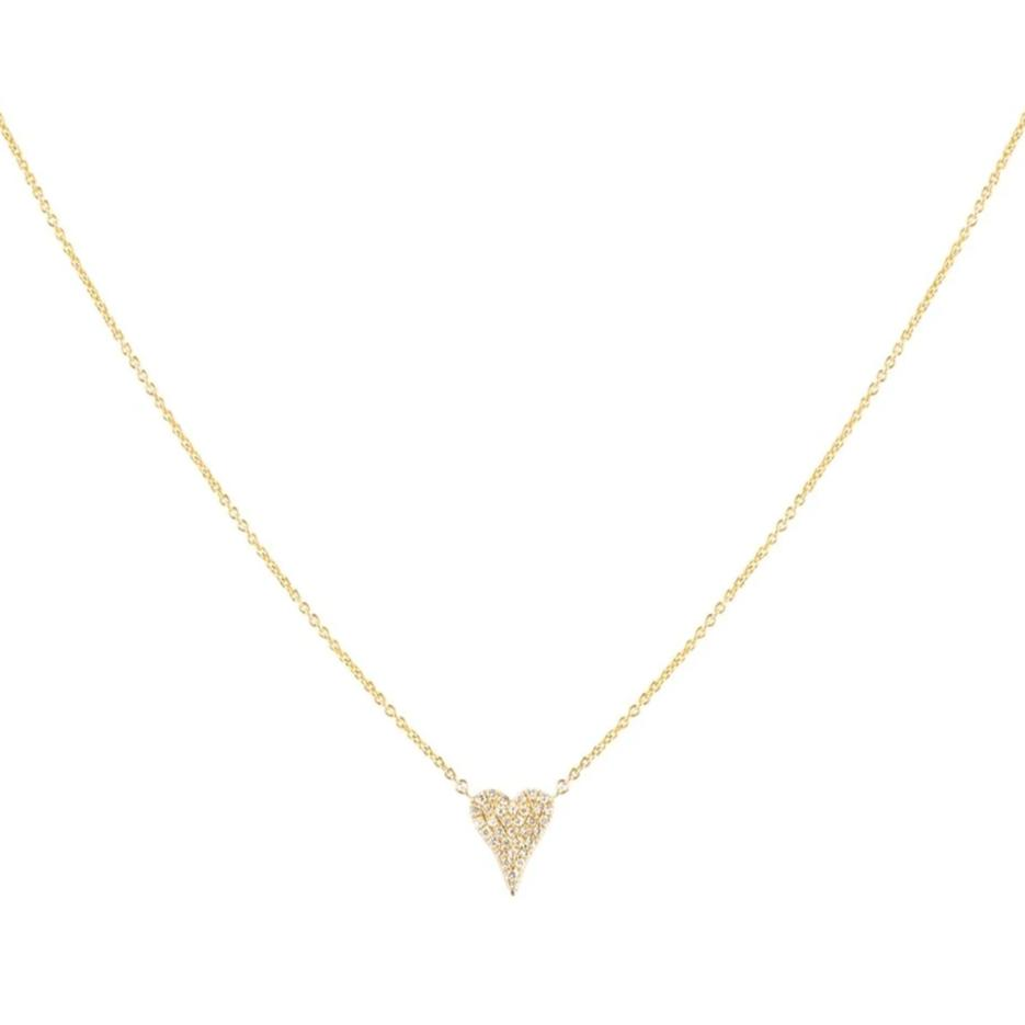 Tiny Pave Elongated Heart Necklace