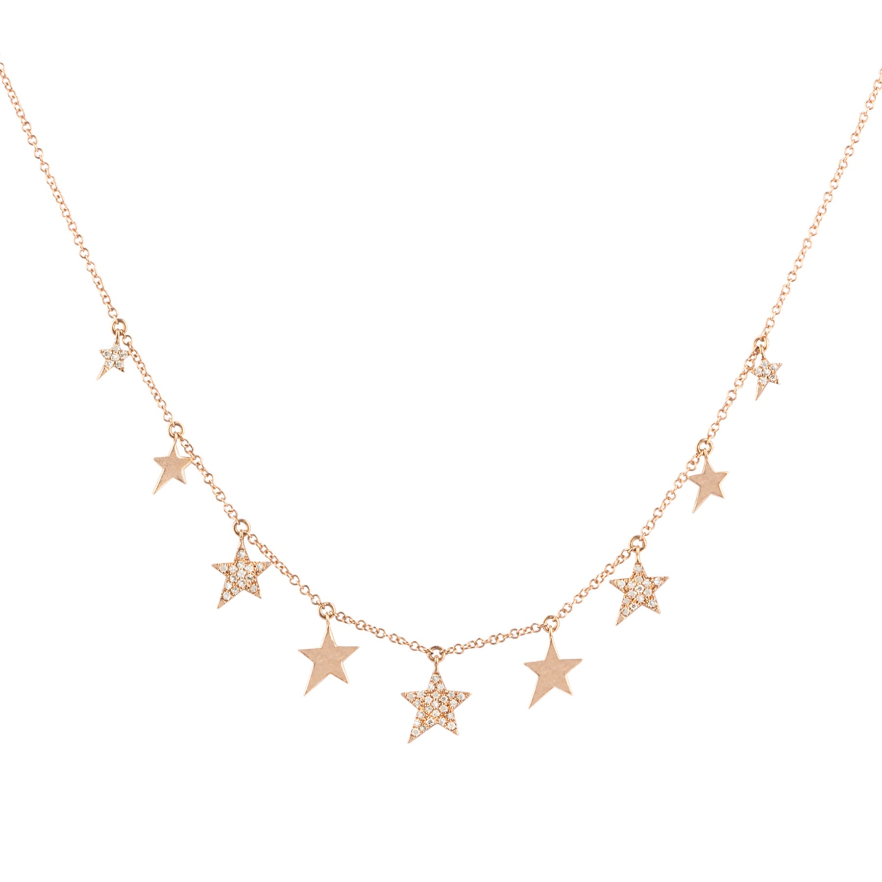 Star Plain & Pave Diamond Drop Necklace