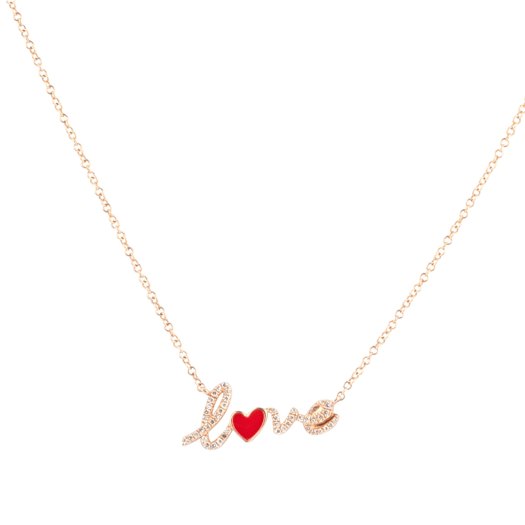 Diamond Love Necklace with Red Enamel Heart