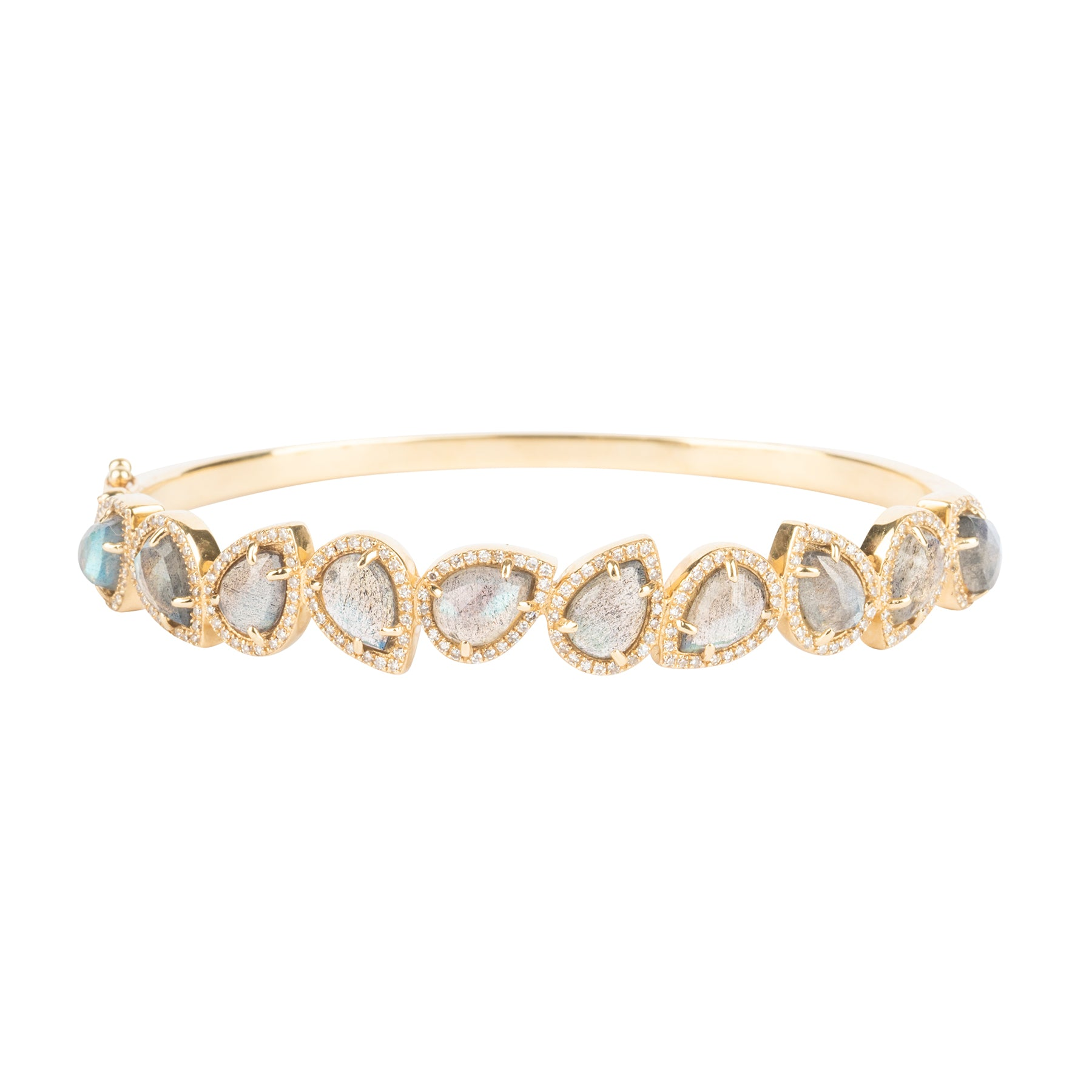 Labradorite Pears Diamond Bangle