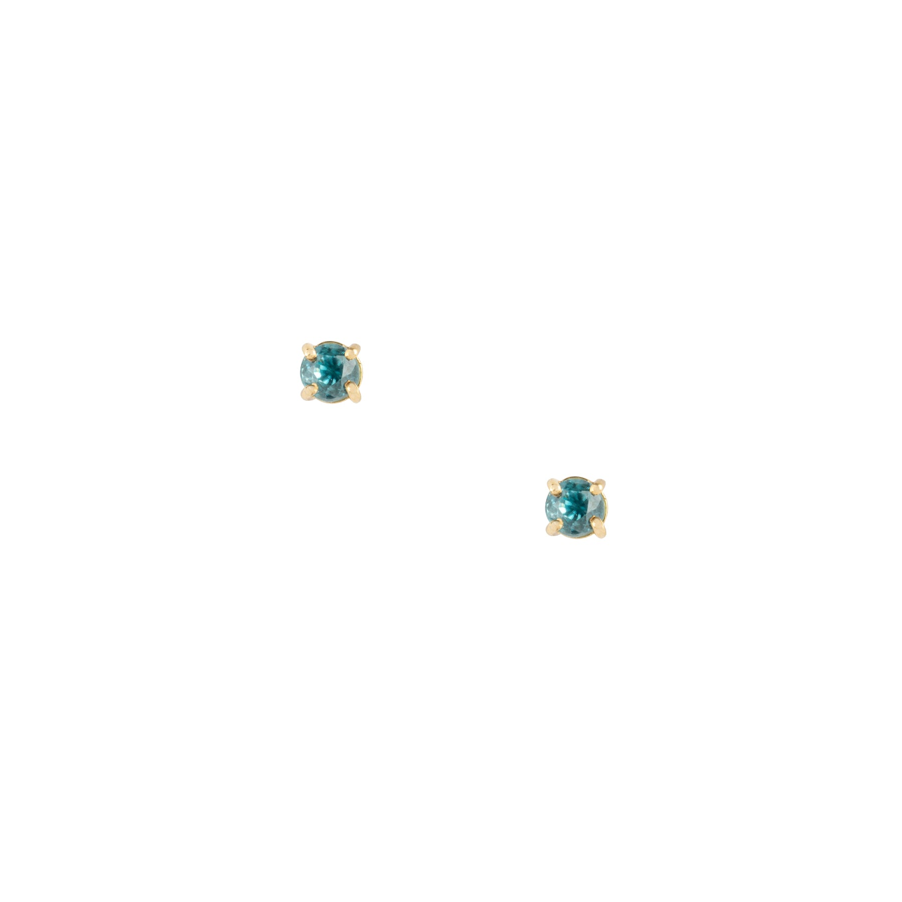 Gem Candy Tiny Blue Zircon Round Studs
