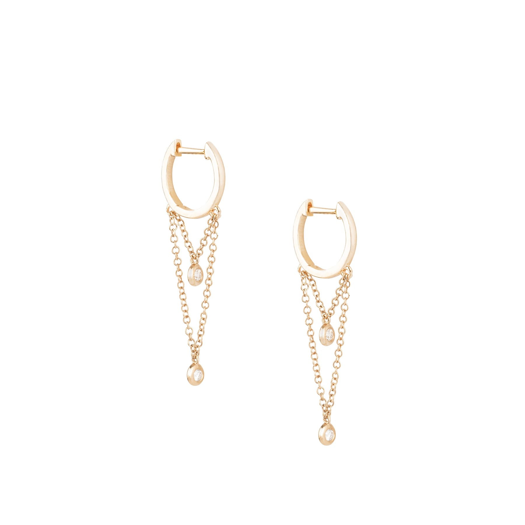 Plain Huggies With 2 Chain Bezel Diamond Earrings