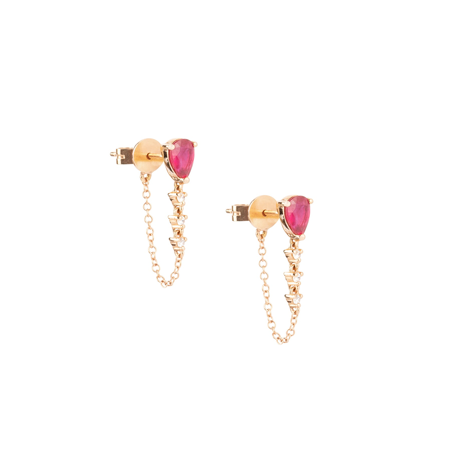 Ruby Tear 3 Diamond Chain Connect Studs
