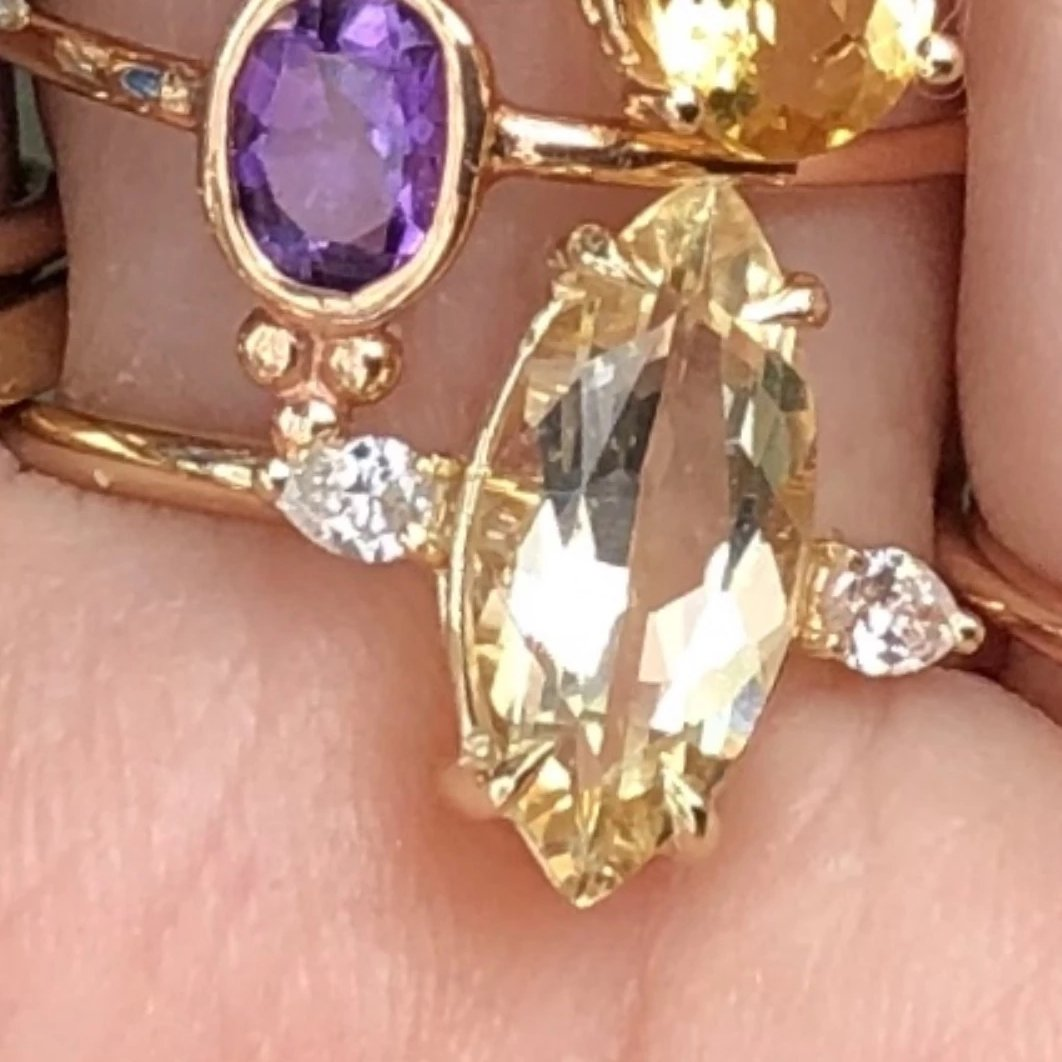 Gem Candy Beryl Marquise Pear 2 Diamond Ring