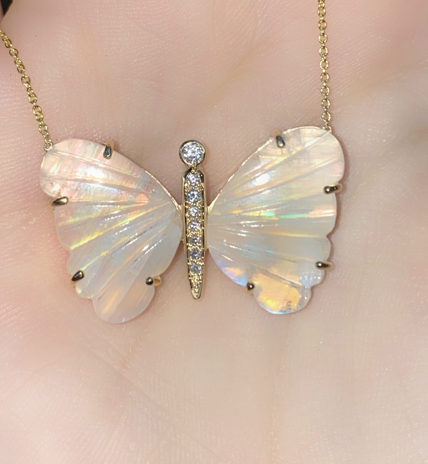 Large Moonstone Butterfly Necklace