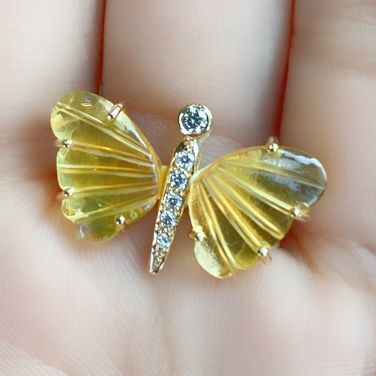 Small Citrine Butterfly Ring