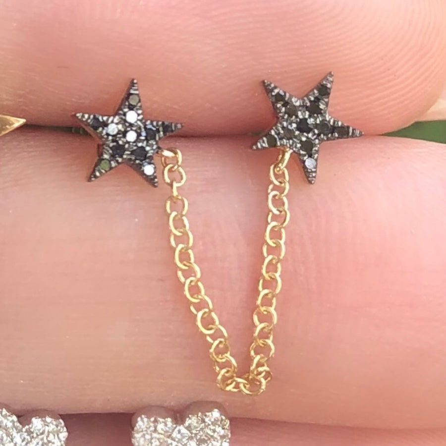 Black Diamond Double Star With Chain Connecting Studs