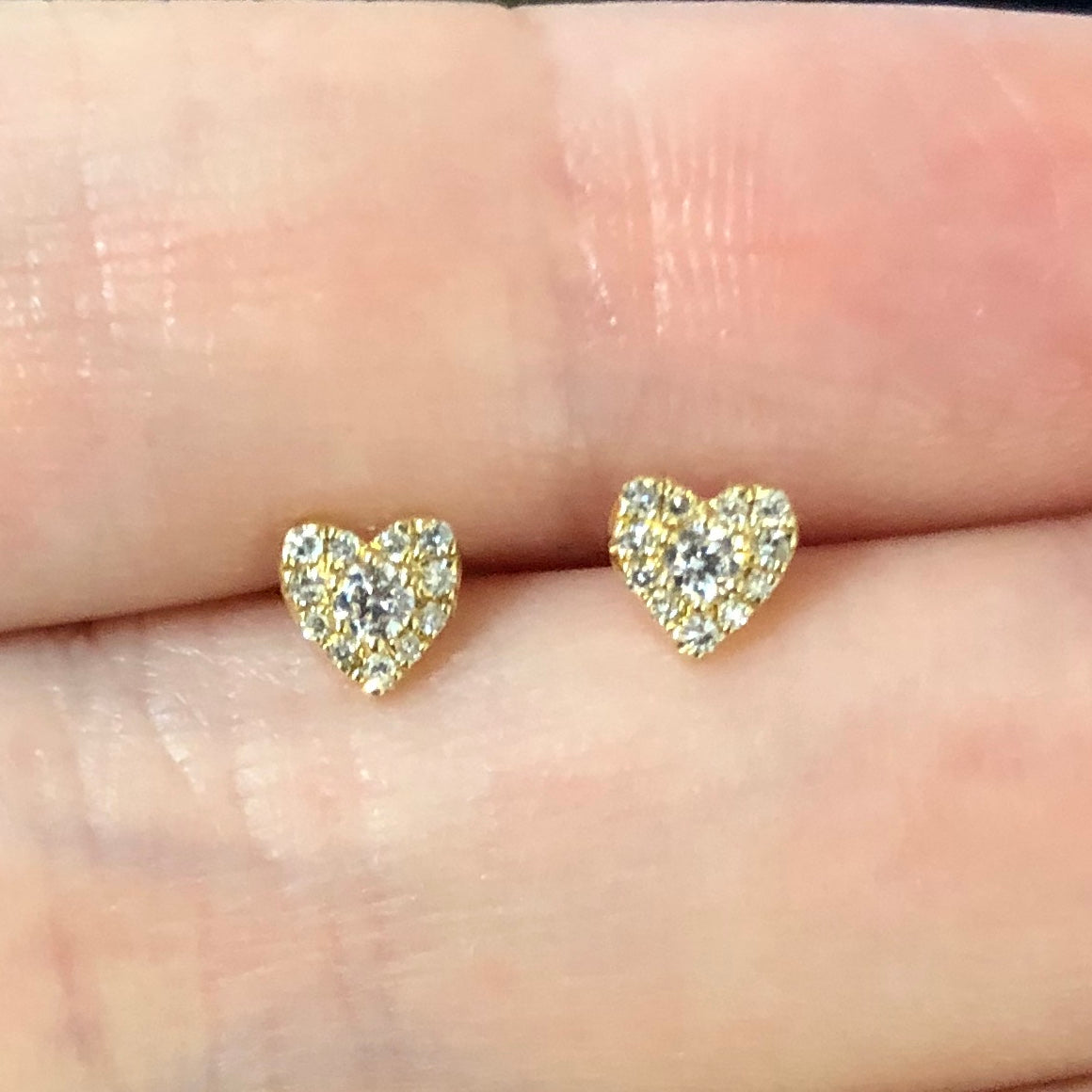 Tiny Rounded Heart Diamond Studs