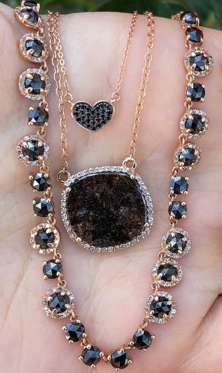Black Diamond Rose Cuts Half Diamond Necklace