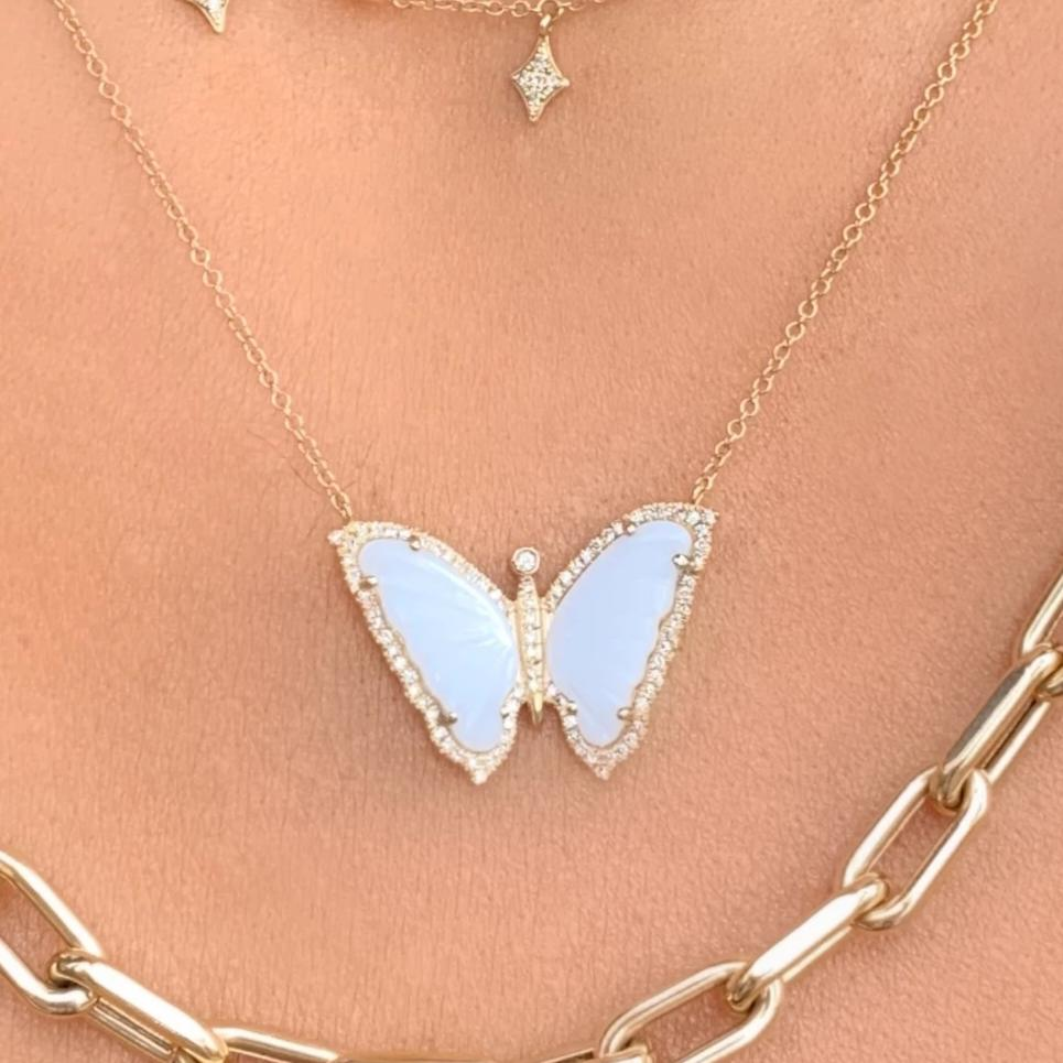 White Agate Butterfly Necklace