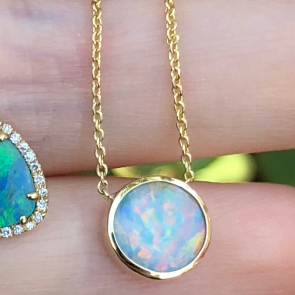 Opal Round Bezel Set Necklace