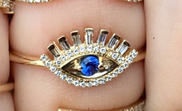 Evil Eye Baguette Lashes Diamond Ring