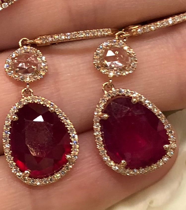 Ruby White Topaz Diamond Drop Earrings