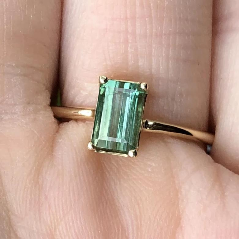 Gem Candy Taquarel Blue Green Tourmaline Emerald Cut Ring
