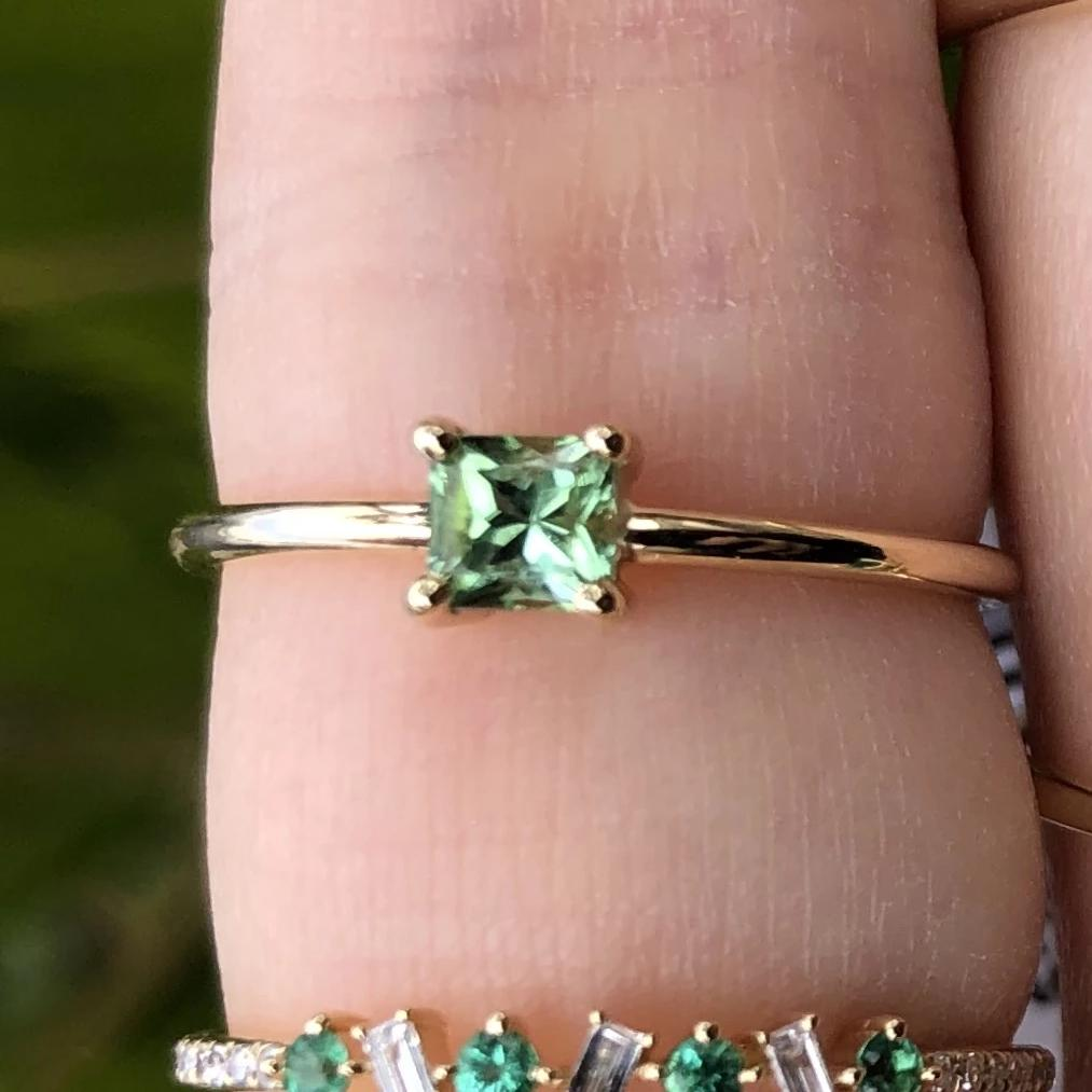 Gem Candy Afghan Tourmaline Light Green Princess Cut Ring