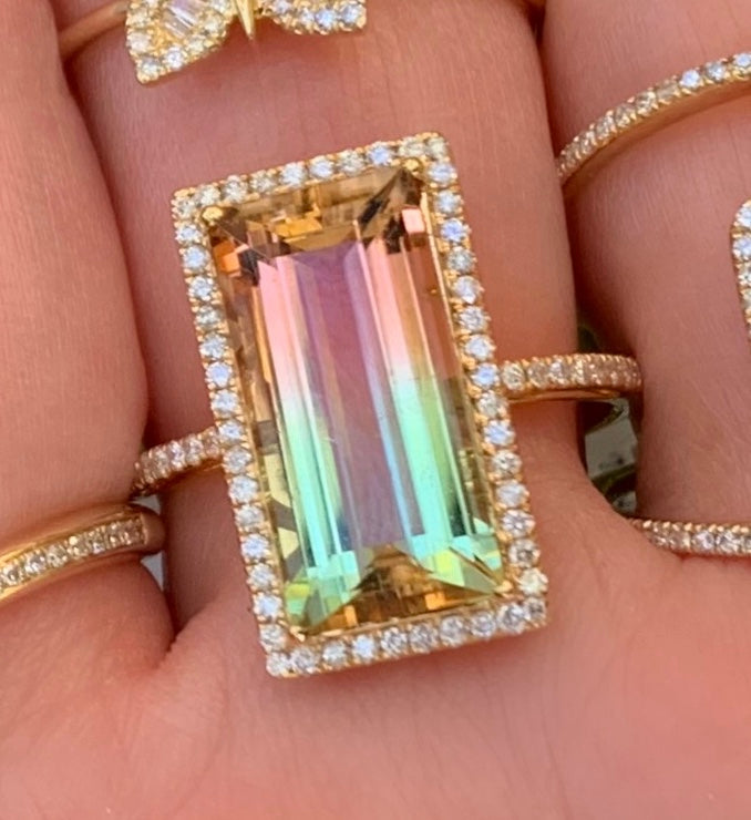 Peach Aqua Tourmaline Rectangle Ring