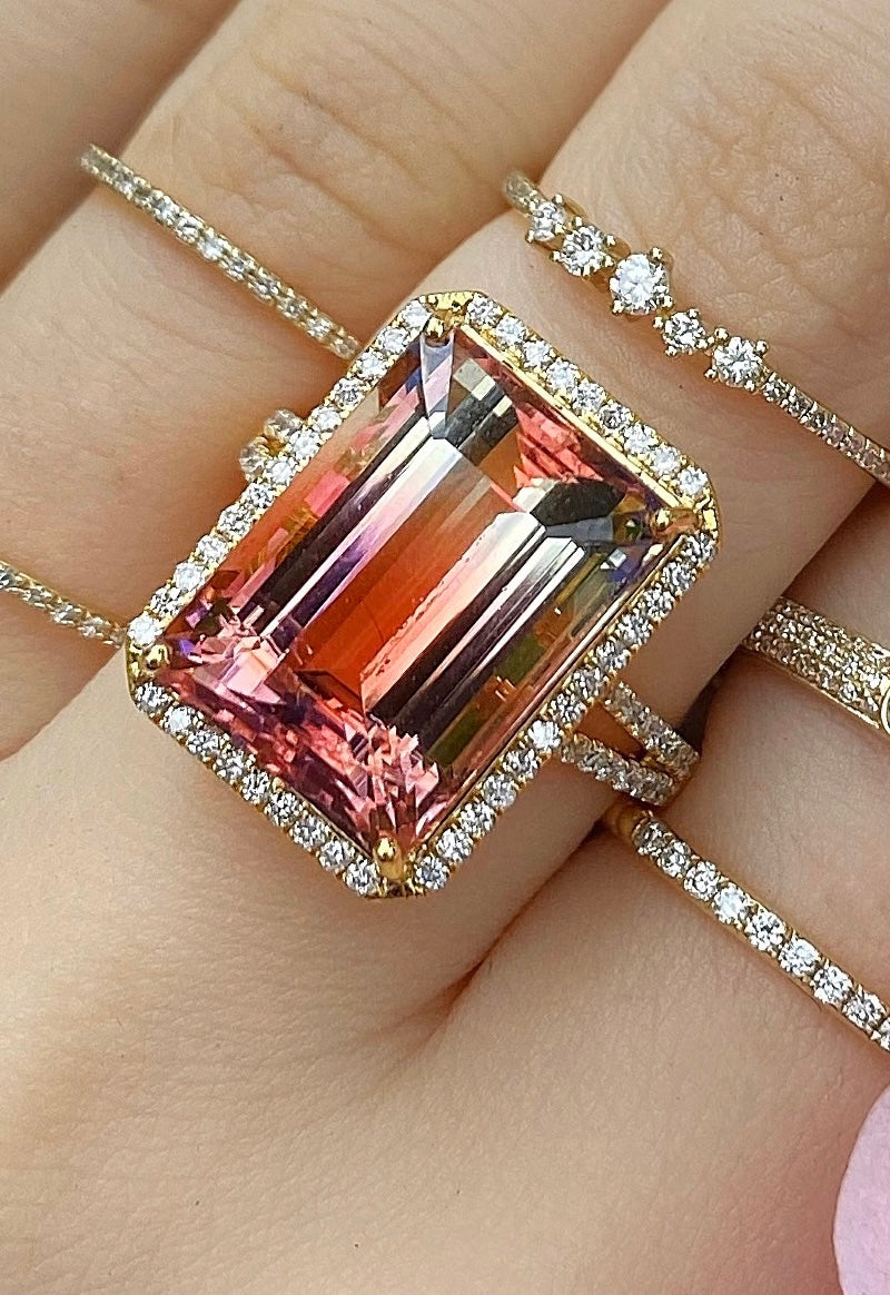 Large Pink Peach Tourmaline Rectangle Ring