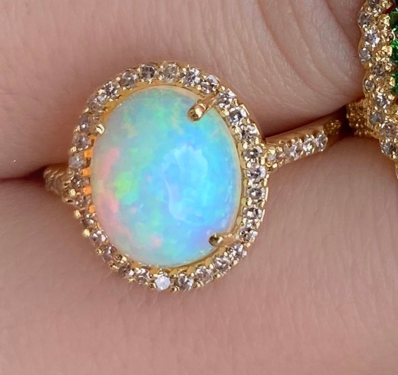Round Crystal Opal Diamond Ring