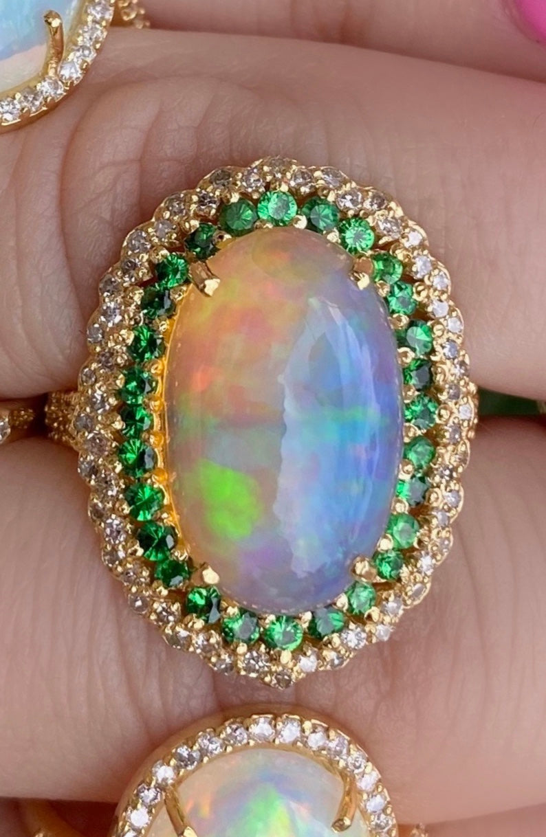 Large Oval Opal Diamond Emerald Ring