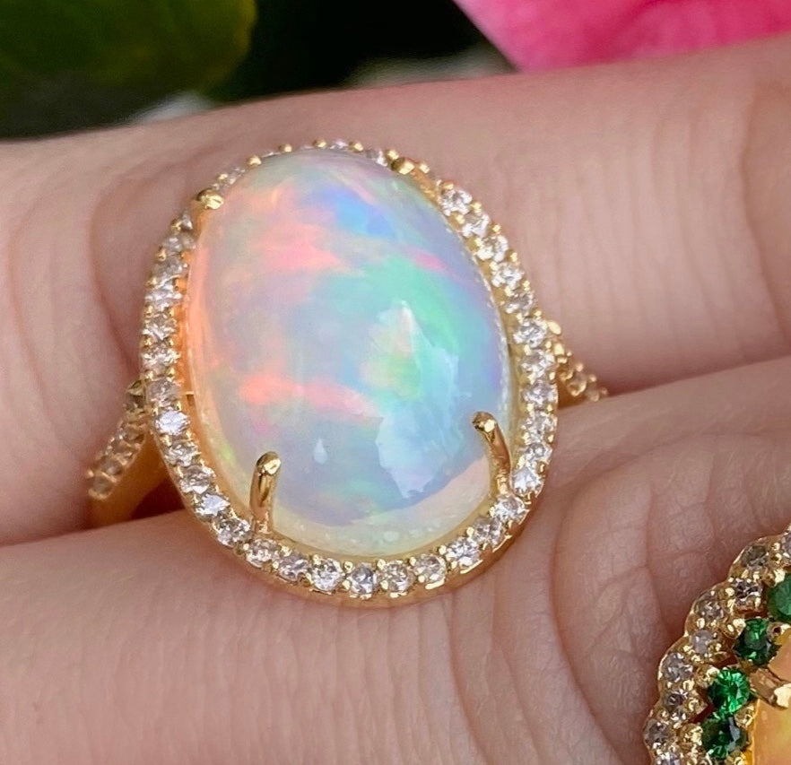 Large Oval Crystal Opal diamond Ring