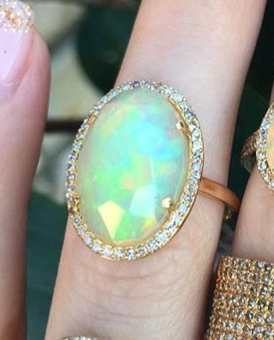 Crystal Opal Oval Diamond Ring