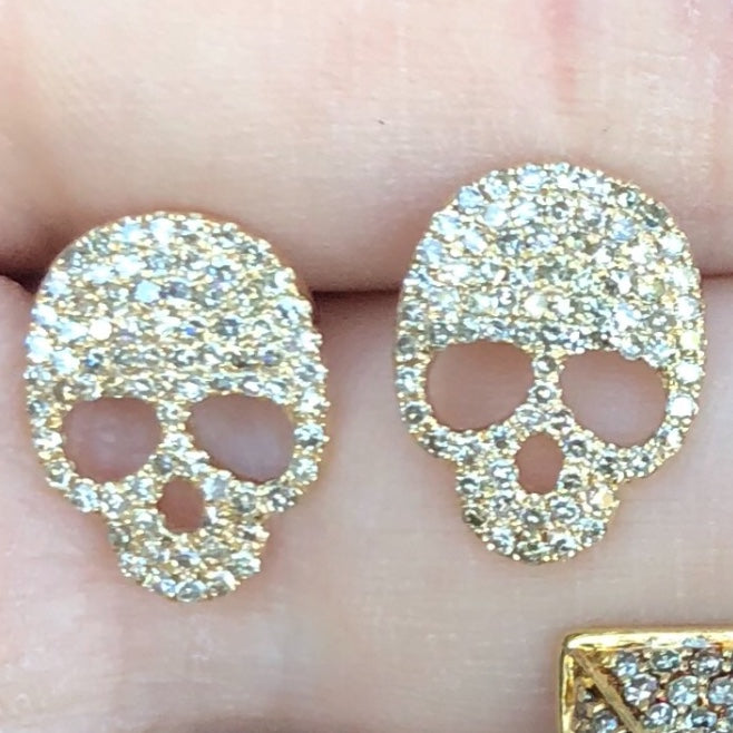 Hari Big Skull Diamond Studs