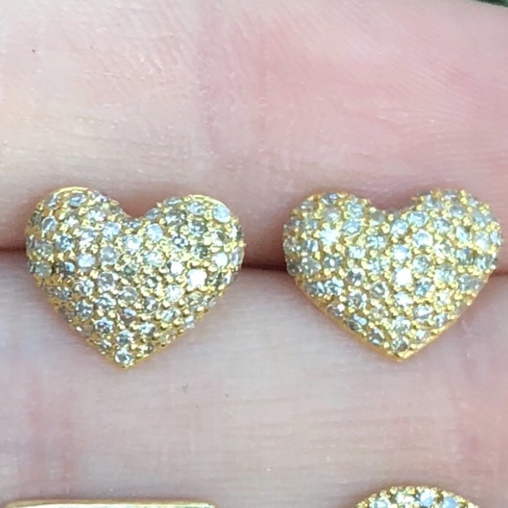 Rounded Heart Diamond Studs