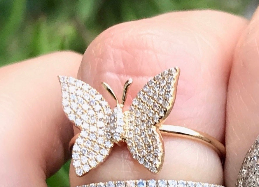 Big Diamond Pave Butterfly Ring