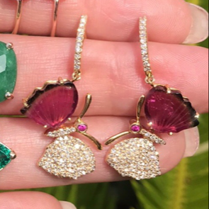 Watermelon Tourmaline Butterfly Diamond Earrings