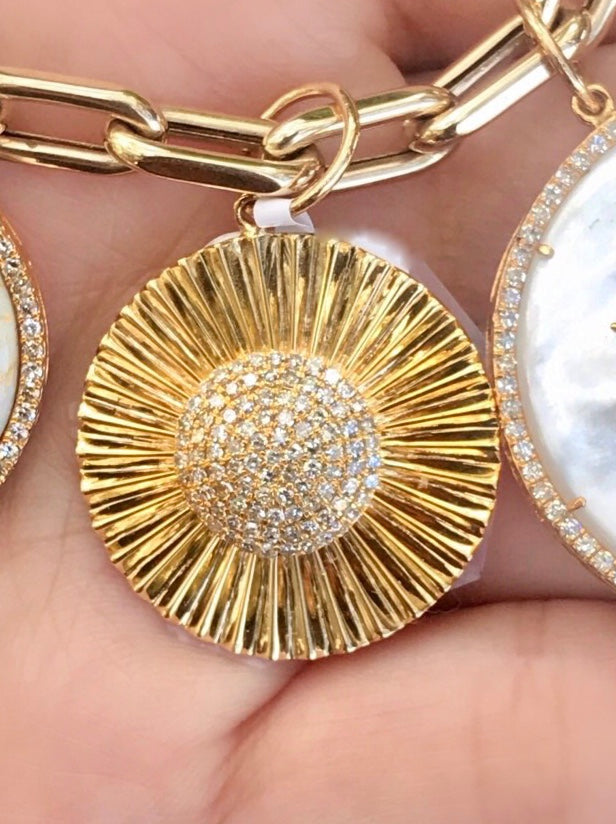 Diamond Sun Disc Pendant