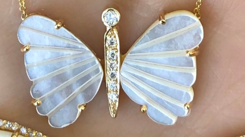 Medium Mother of Pearl Butterfly Necklace