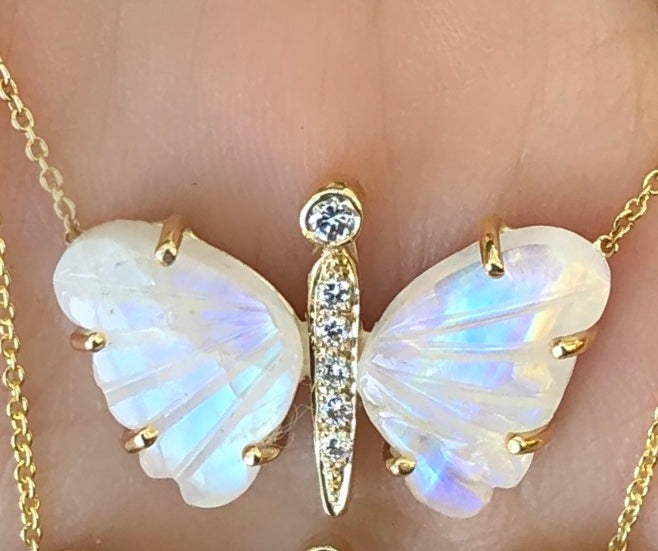 Small Moonstone Butterfly Necklace