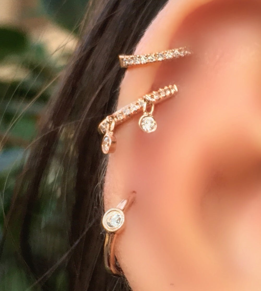 Pave Ear Cuff With 2 Bezel Dangles