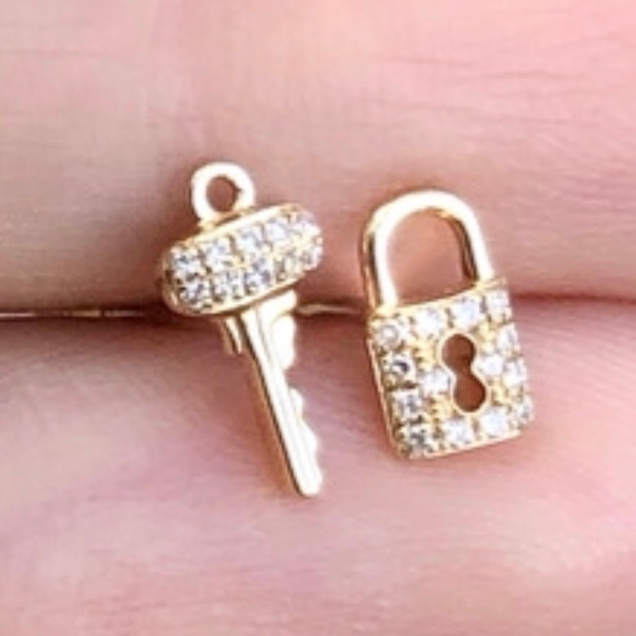 Baby Lock and Key Diamond Studs
