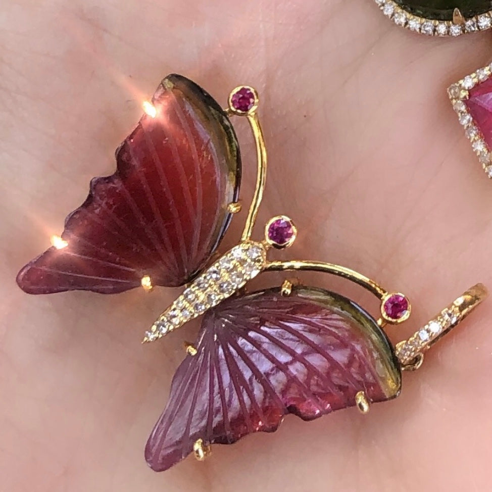 Tourmaline Sideways Butterfly Necklace