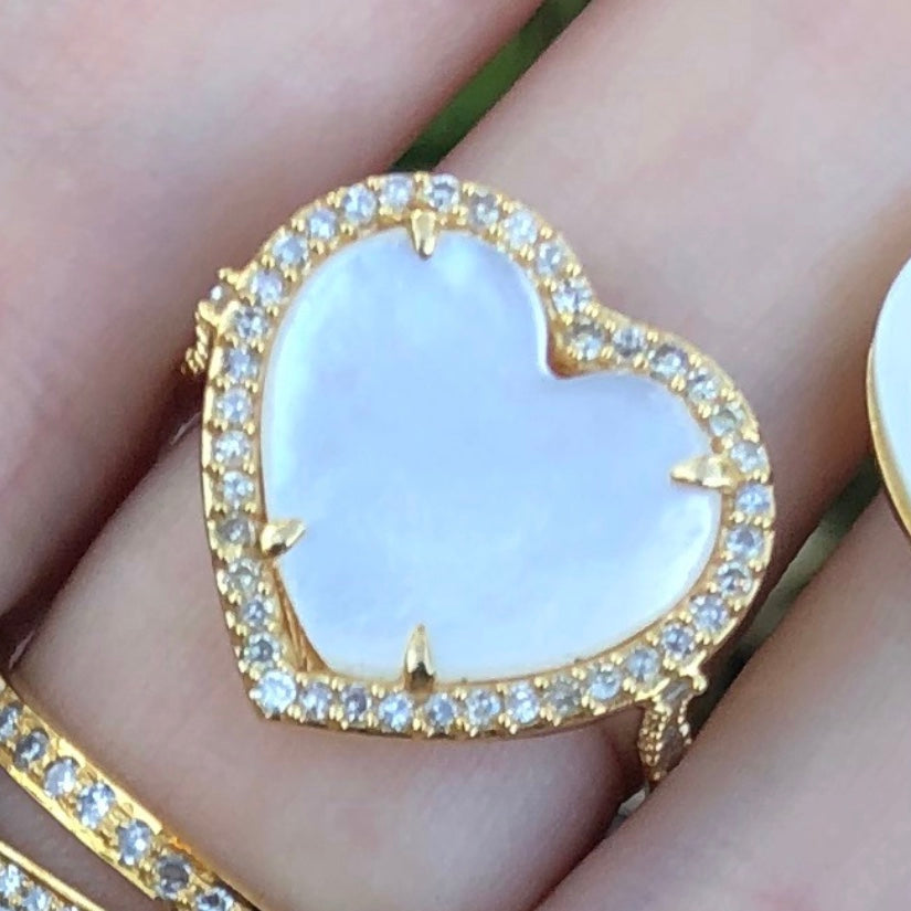 Mother of Pearl Diamond Heart Ring