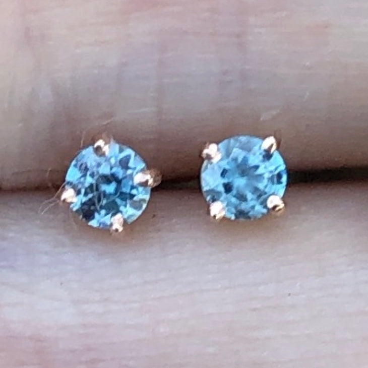 Gem Candy Tiny Blue Topaz Round Studs