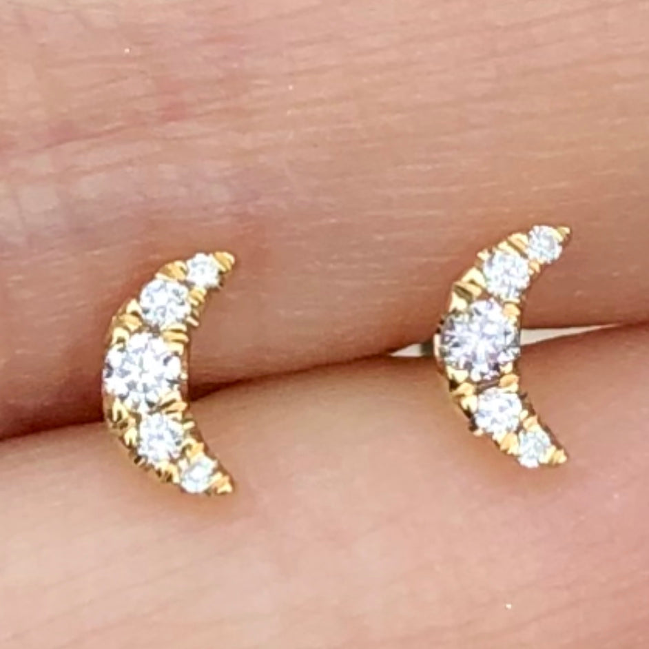 Extra Tiny Pave Moon Studs