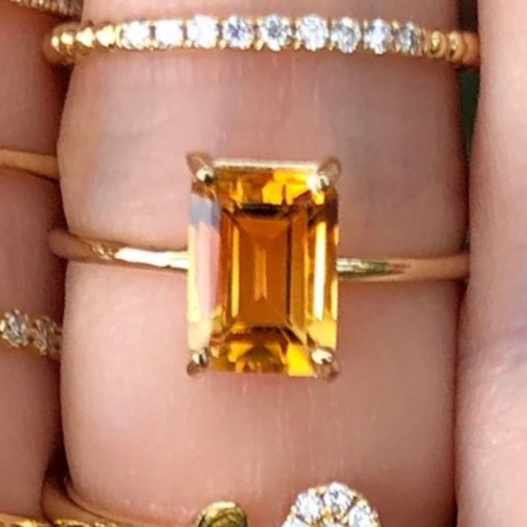 Gem Candy Citrine Rectangle Ring