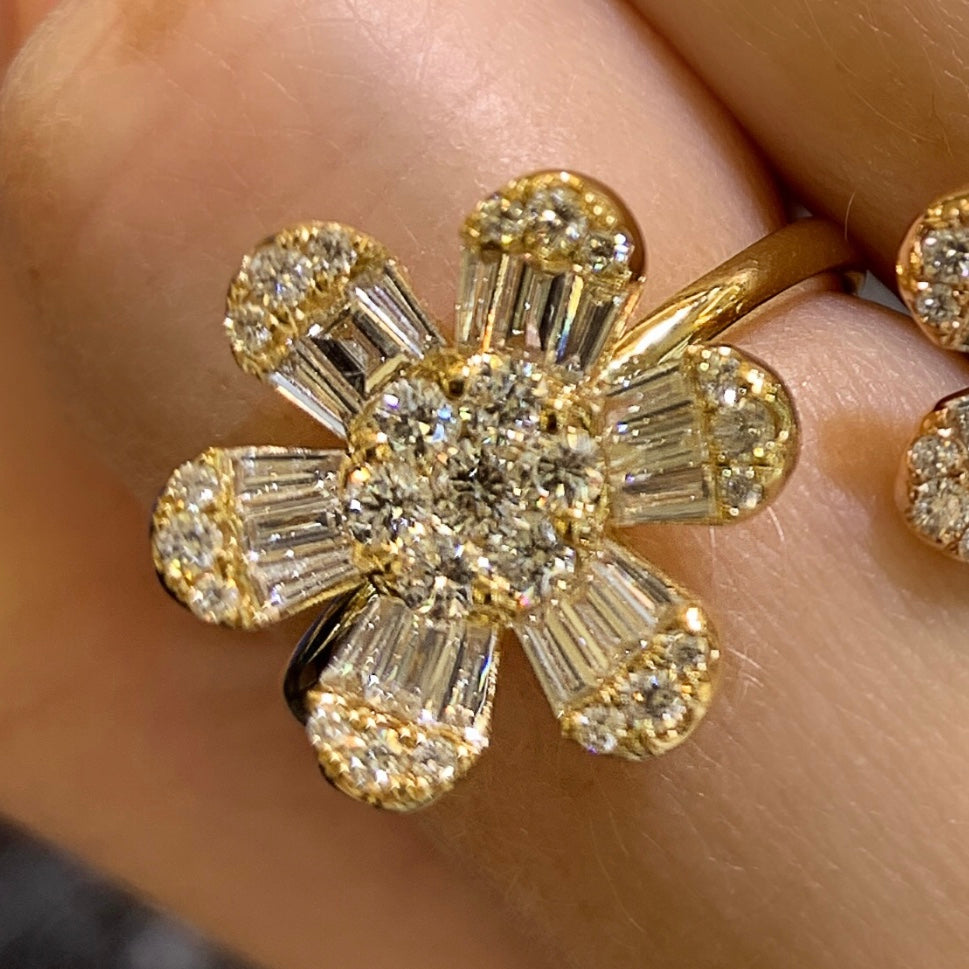 Large Baguette Flower Daisy Diamond Ring