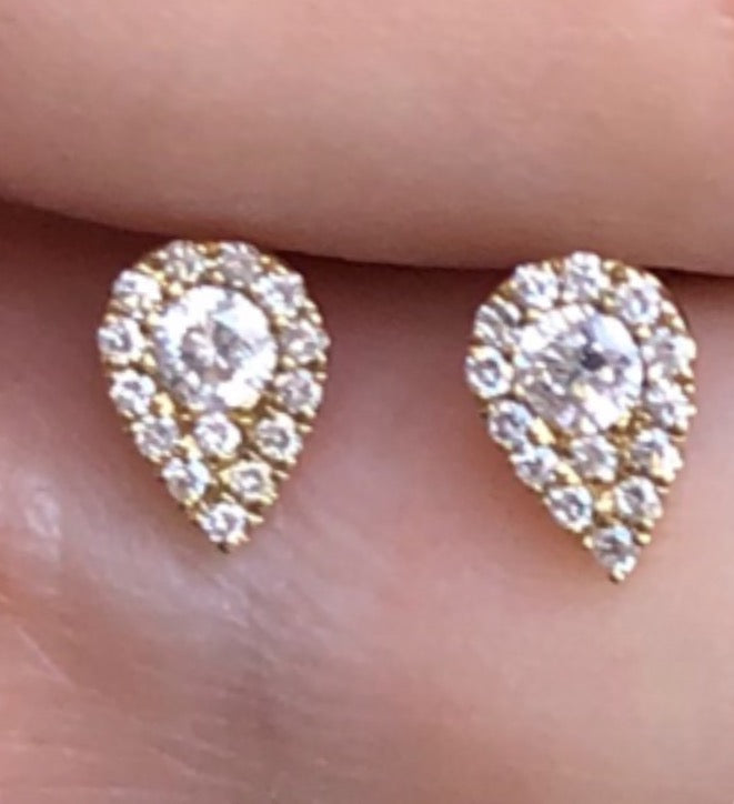 Pear Shape Diamond Pave Studs