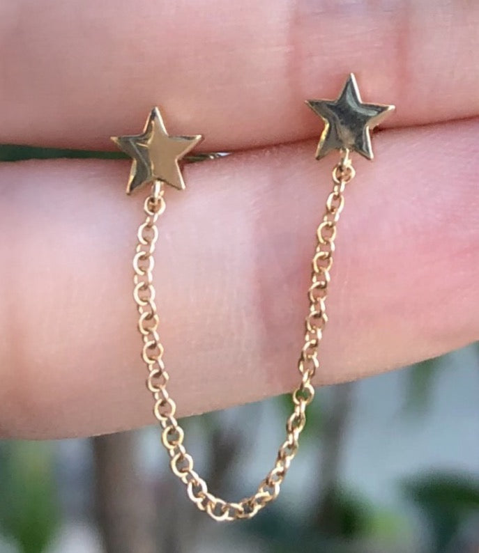 Double Plain Star Chain Earring