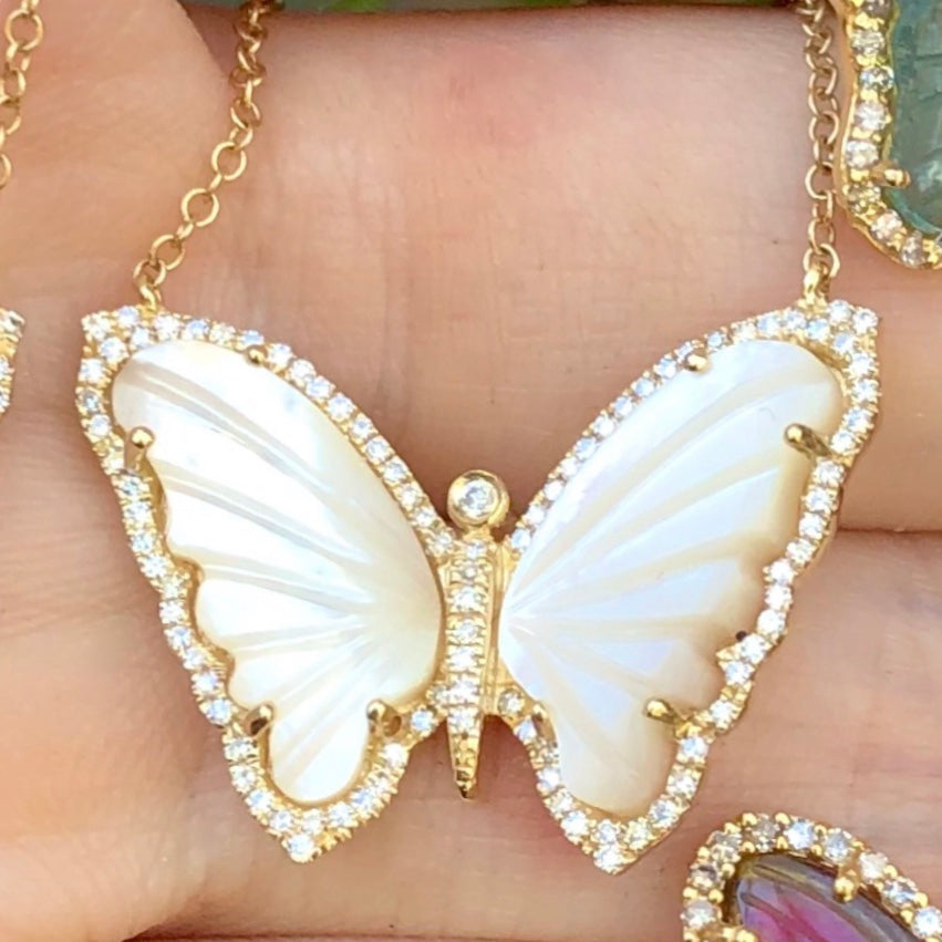 Mother of Pearl Butterfly Diamond Necklace