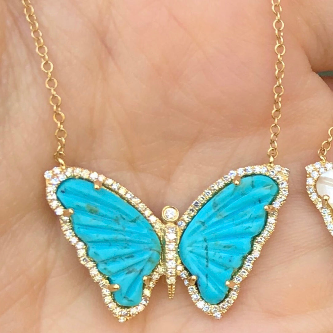 Turquoise Butterfly Diamond Necklace