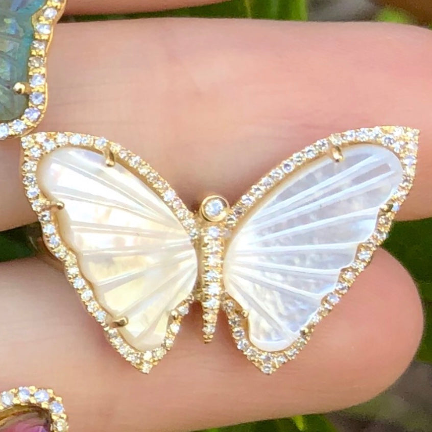 Mother of Pearl Butterfly Diamond Ring