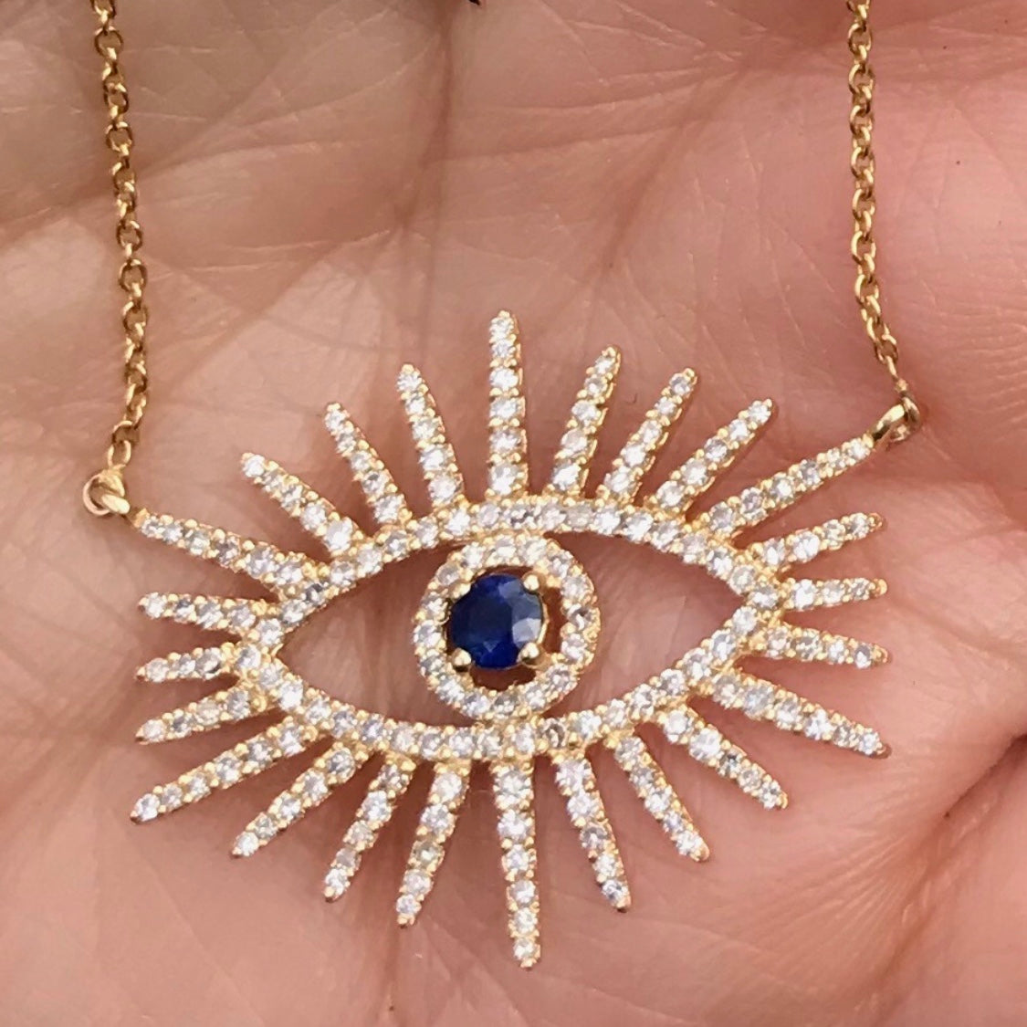 Spike Lash Diamond Sapphire Eye Necklace